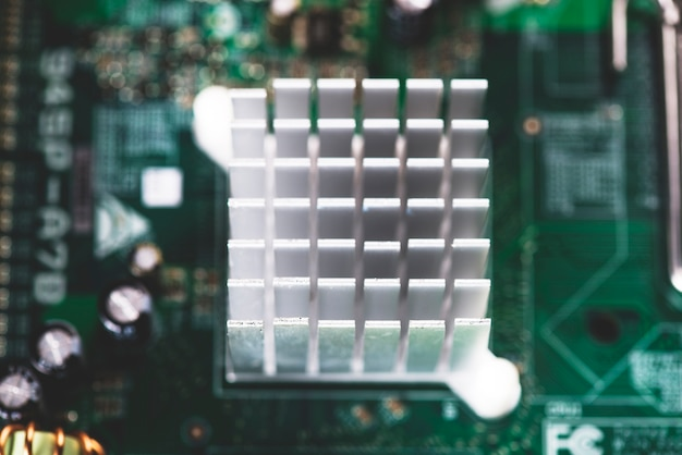 Overhead view of heatsink in motherboard circuit