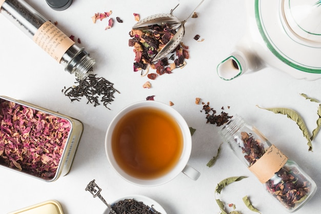 An overhead view of herbal tea with different types of herbs on white backdrop