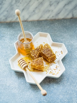 An overhead view of honeycomb pieces and pollen bees on tray