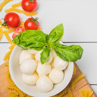 An overhead view of italian mozzarella cheese with basil leaf; tomatoes and fusilli pasta