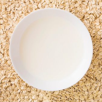Overhead view of milk bowl over the oats