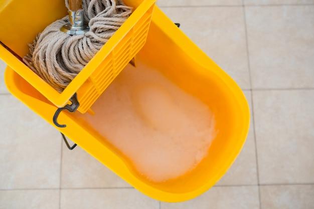 Overhead view of mop bucket