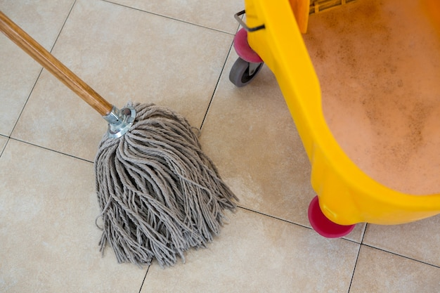 Overhead view of mop by bucket