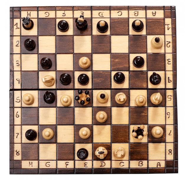 Вид сверху на шахматный матч