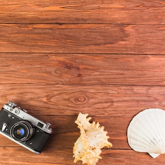 Overhead view of camera and seashell on wooden table