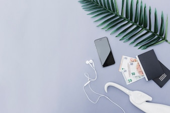 Overhead view of cellphone with earphone, euro currency, passport and leaf on gray background