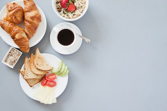 Overhead view of healthy breakfast with coffee