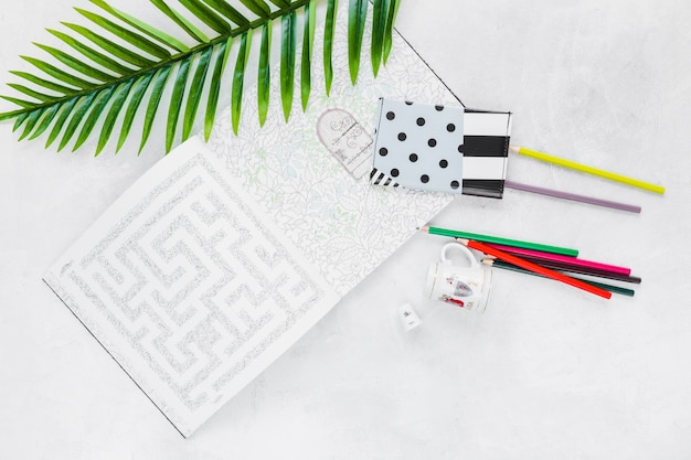 財布、葉、色鉛筆、カップと迷路のオーバーヘッドビュー