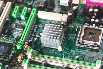 Overhead view of memory slot and heatsink on computer component