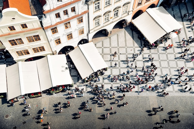 プラハの旧市街広場の俯瞰図。チェコ共和国