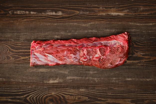 원시 신선한 쇠고기 안심 로스트의 오버 헤드보기