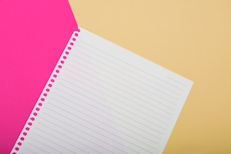 Overhead view of single page on pink and golden background