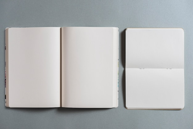 Overhead view of open blank books