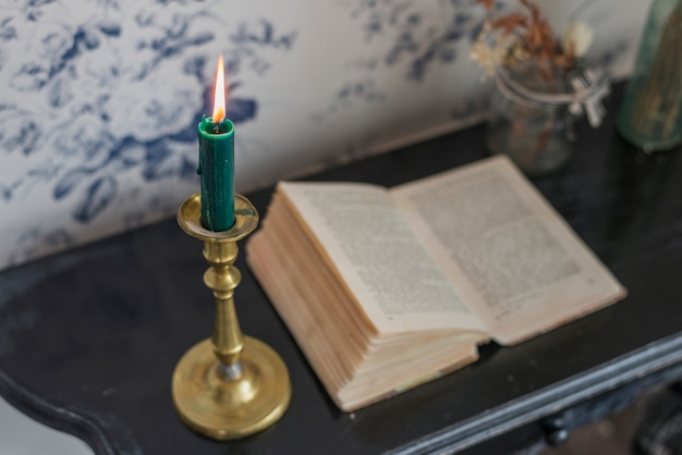 An overhead view of an open book and lighted candle on desk