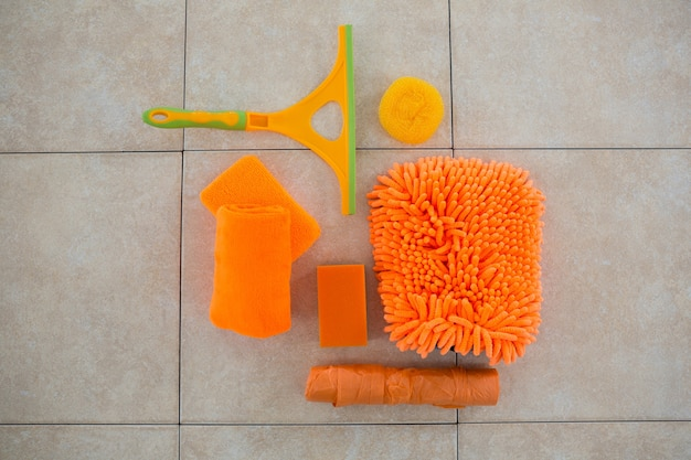 Overhead view of orange cleaning products