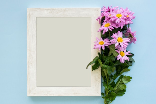 Overhead view of a purple marguerite daisy flowers and white picture frame on blue backdrop