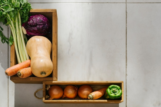 Overhead view of raw vegetables on tiled floor