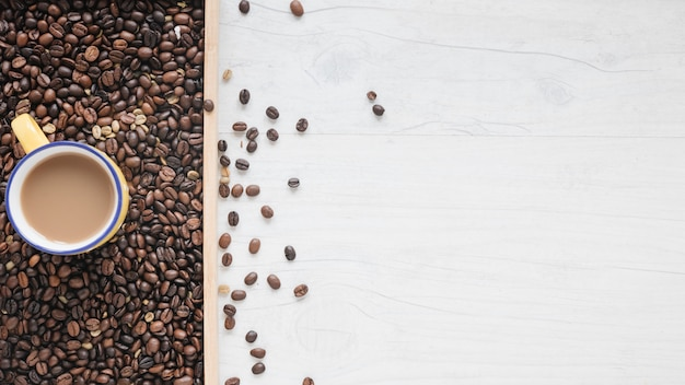 An overhead view of roasted coffee beans and coffee cup