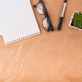 Overhead view of single page; spectacles; pen and potted plant on brown paper