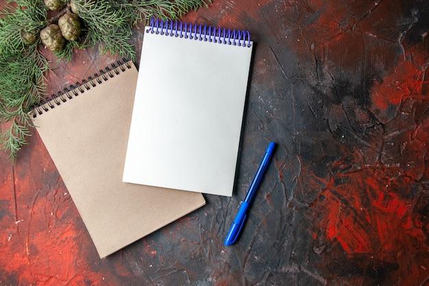 Vista dall'alto di quaderni a spirale e rami di abete a penna su sfondo scuro