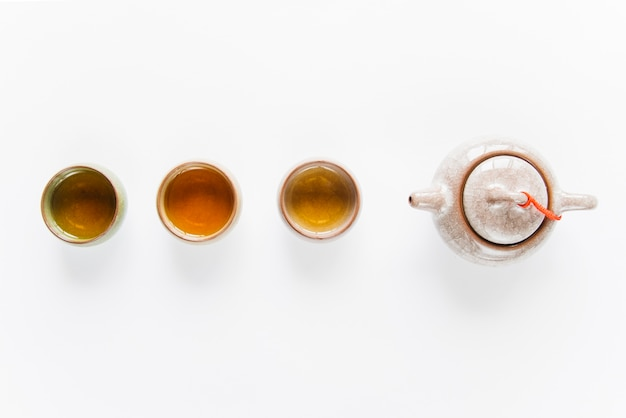 An overhead view of traditional tea in teacups and ceramics teapot