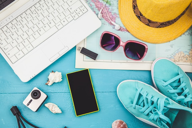 Overhead view of traveler's accessories travel plan, trip vacation, tourism  instagram looking image of travelling