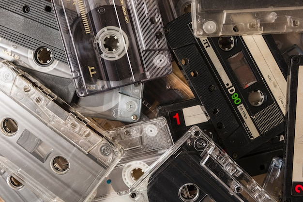 Overhead view of vintage cassette tape