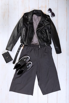 Overhead view of woman's casual outfits