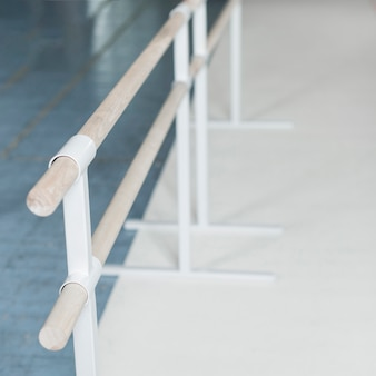 Overhead view of wooden barre in dance studio