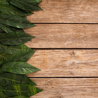 Overhead of wooden planks background with border leaves and copy space