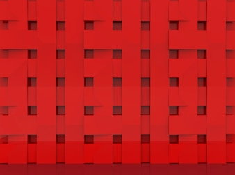 Overlayed red panels in square shape pattern wall background.