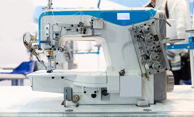 Overlock machine closeup, nobody, clothing sew