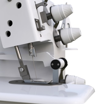 Overlock on a white background. equipment for sewing production. sewing clothes and textiles. 3d illustration.