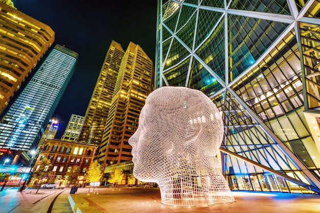 Overlook of wonderland sculpture also known as big head in downtown of calgary a canada