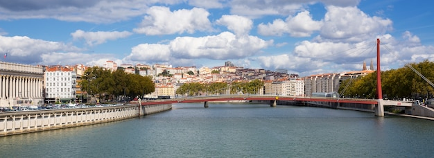 Overlooking the saone river in lyon, france