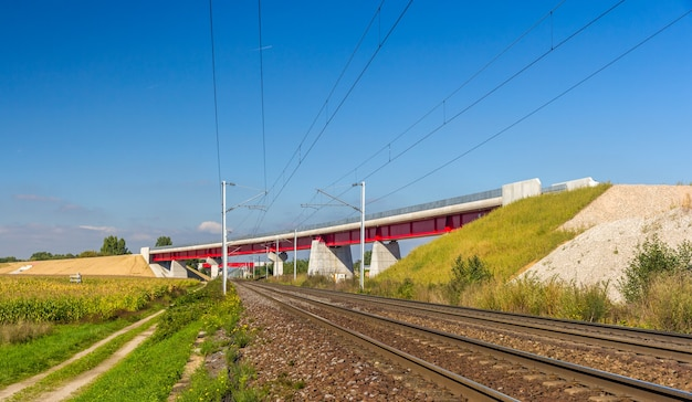 Overpass of new high speed railway lgv est near strasbourg
