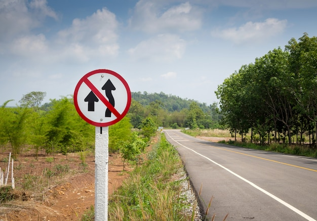 Do not overtake traffic sign board on national highway