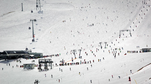 Overview of austrian ski resort in the alps