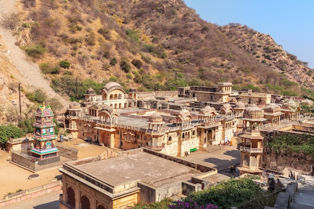 Overview of the monkey temple or galta ji complex, jaipur, india.