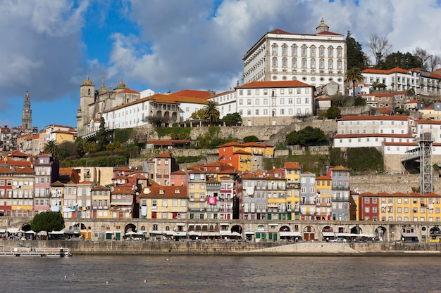 Overview of old town of porto in portugal