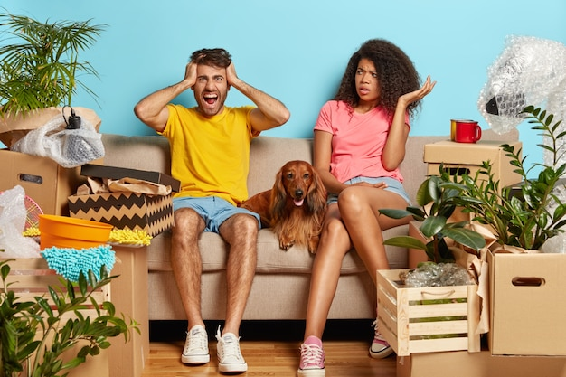 Overwhelmed married couple on sofa with dog surrounded with cardboard boxes