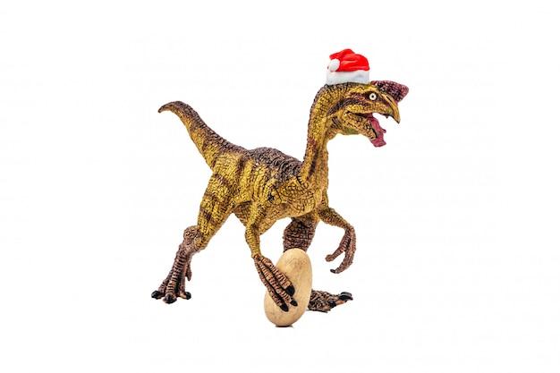 Oviraptor  dinosaur with christmas hat on white