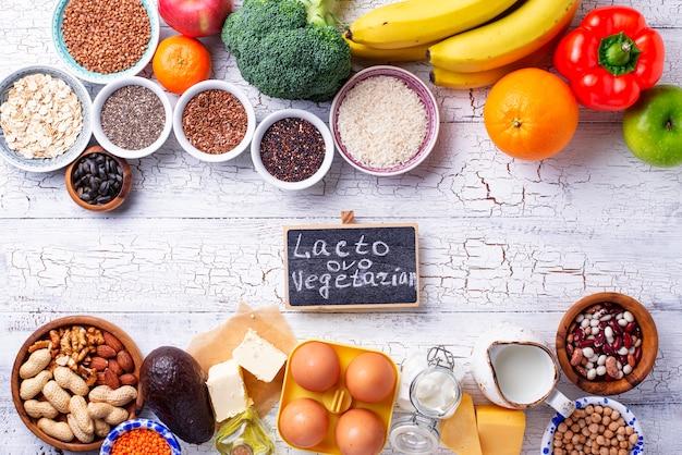 Ovo-lacto vegetarian healthy diet concept.