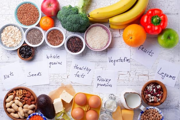 Ovo-lactoベジタリアンの健康的な食事のコンセプト。