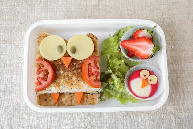 Owl healthy sandwich, fun lunch box for kids