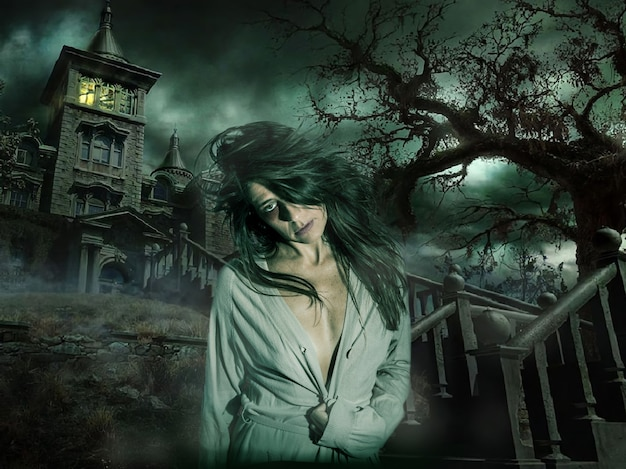 Own halloween scene a woman like a zombie emerges from the darkness of a terrifying house