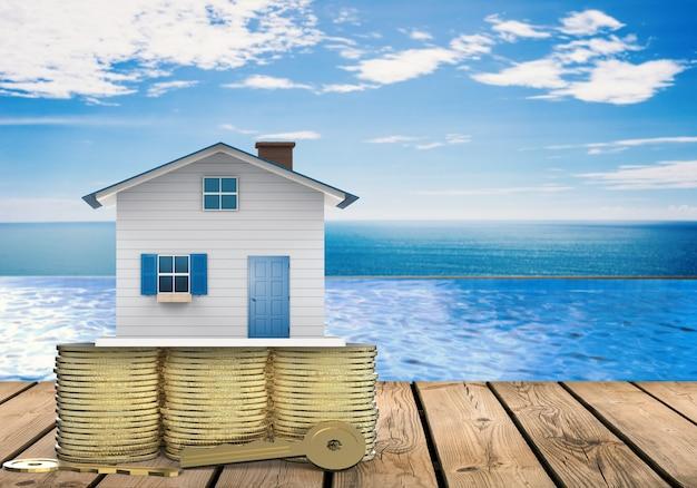 モックアップハウスと金色の鍵を持つ所有権の概念