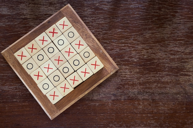 Ox (tic tac toe) wood board game