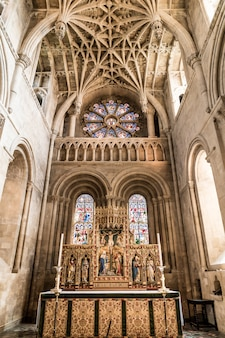 Oxford, uk   aug 29, 2019: interior of university church of st mary the virgin. it is the largest of oxford's parish churches and the centre