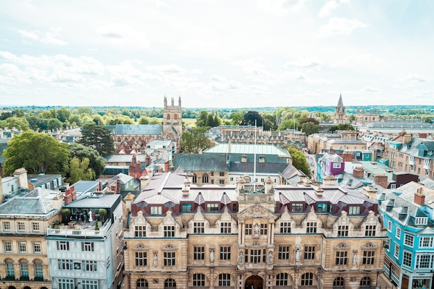 Oxford, uk - august 29, 2019: high angle view of high street of oxford, united kingdom.